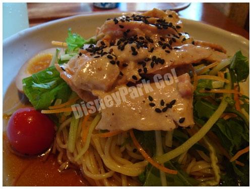 豚肉と水菜の涼麺、ごま風味