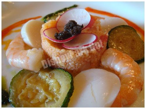 海老と帆立貝のマリネ、クスクス添え