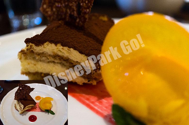 紅茶とマスカルポーネクリームのケーキとオレンジソルベット