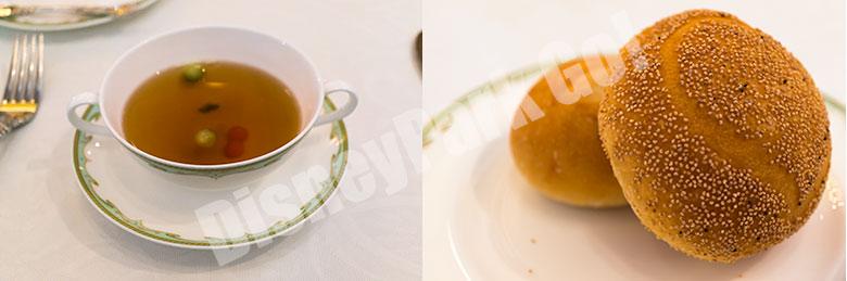 コンソメスープとパン