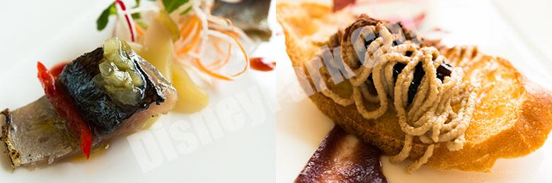 炙り秋刀魚と茄子のインサラータ 鶏レバームースとフルーツのアグロドルチェ