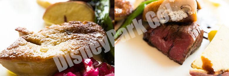 牛ランプ肉のタリアータ仕立て セージの香るチーズポレンタとマッシュルーム添え