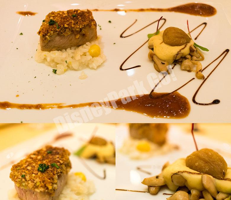 イベリコ豚のナッツクラストと栗のエスプーマ  銀杏と白マイタケの柚子風味のリゾットと共に
