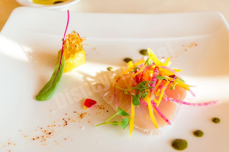 ブリのマリネとポロ葱のウミド 柚子胡椒ドレッシング