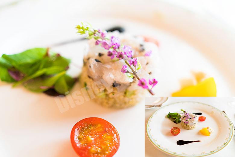 真鯛とキヌアのタルタル、バルサミコソース