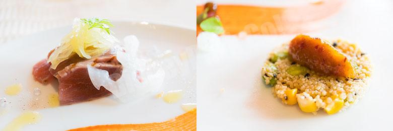 マグロのグリルとスパイス香る彩り野菜のタブレ ラム酒とドライフルーツのチャツネ