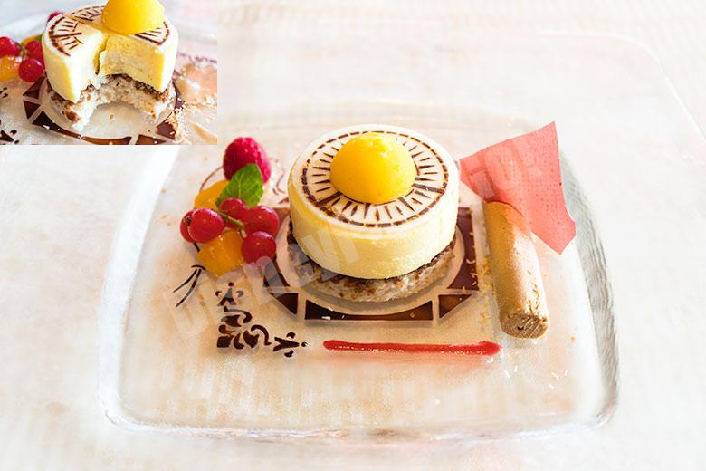 トロピカルフルーツムースとキャラメルチョコレートアイスクリーム